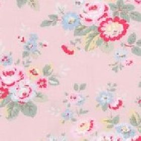 Trailing Floral Lightweight Cotton - Pink - Light pink cotton fabric with red, pink and green roses from Cath Kidston