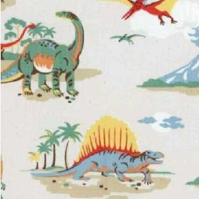 Dinosaur Lightweight Cotton - Stone - White cotton fabric with dinosaurs from Cath Kidston