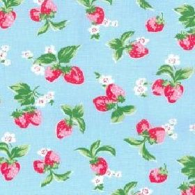 Mini Strawberry - Blue - Cotton fabric with sky blue background deoicting strawberries, white flowers and leaves
