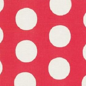 Big Spot Cotton Duck - Red - Cotton fabric with red background with bold white spots