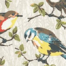 Garden Birds Cotton Duck - Stone - Cotton fabric with light beige background with garden birds