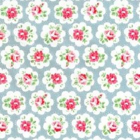 Provence Rose Large Cotton Duck - Blue - Cotton fabric with sky blue background depicting small roses with white surround