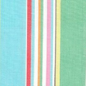 Kew Stripe Yarn Dye - Multi - Cotton fabric with bold stripes in shades of green, rose,beige and white