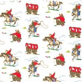 Mini Cowboy - Cream - Cotton fabric with cream background depicting wild west characters