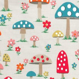 Mushroom Cotton Duck - Stone - Cotton fabric with light beige background depicting multi-coloured toadstools
