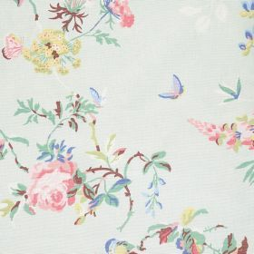 Birds & Roses Cotton Duck - Green - Cotton fabric with pale blue background with pastel roses and birds