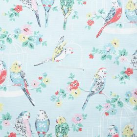Big Budgies Cotton Duck - Blue - Cotton fabric with sky blue background depicting budgerigars