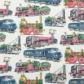Trains Cotton Duck - Stone - Cotton fabric with beige background depicting trains