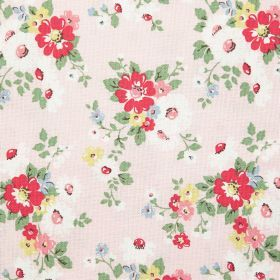 Bright Daisies Cotton Duck - Pink - Cotton fabric with buff background with red floral and leaf pattern