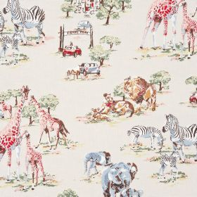 Safari Cotton Duck - Stone - Cotton fabric with cream background depicting safari characters