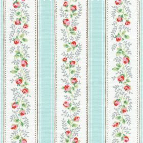 Tea Rose Stripe Cotton Duck - Blue - Cotton fabric with blue and white stripes with roses