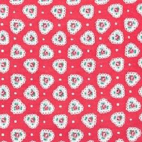 Sweetheart Haberdashery - Red - Cotton fabric with red background depicting small roses with cream heart surround