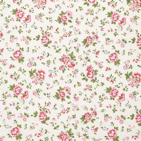Bramley Sprig Haberdashery - Stone - Cotton fabric with neutral background with small pink floral pattern