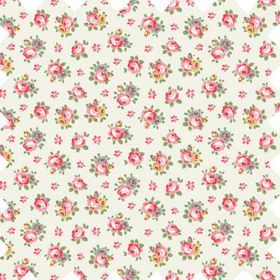 Hampton Rose Haberdashery - White - Cotton fabric with white background with small sprig rose pattern