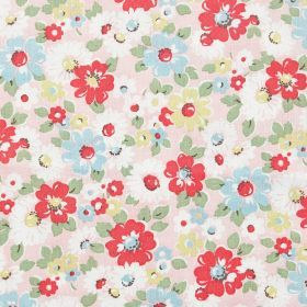 Bright Pop Haberdashery - Pink - Cotton fabric with blue,red, beige and white floral pattern