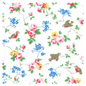Bird Cotton Duck - White - Blue, yellow and pink roses with bright green leaves, on a white fabric background with small brown, red-chested
