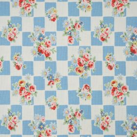Daisy Rose Check Cotton Duck - Blue - Light blue and white checkerboard fabric, with bunches of flowers scattered on top in pink, red, green