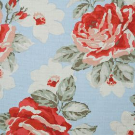New Rose Bloom Cotton Duck - Blue - Roses shaded in red and salmon pink, with white flowers and shaded green leaves on a light blue fabric b