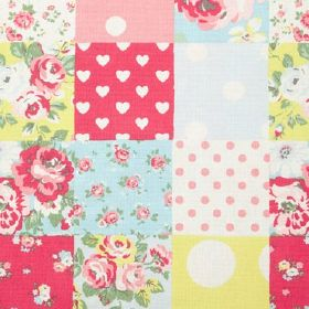 Patchwork Cotton Duck - Multi - Patchwork style fabric including polka dot and floral designs in white, pink, blue, yellow and green shades