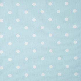 Spot Cotton Duck - Pale Blue - White polka dots printed in rows on sky blue coloured fabric