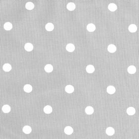 Spot Cotton Duck - Stone - Light grey coloured fabric with a pattern of white polka dots