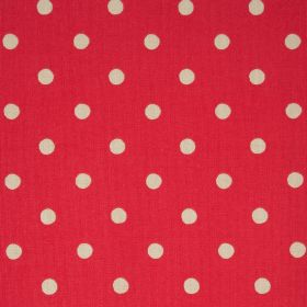 Spot Cotton Duck - Poppy - Bright red 100% cotton fabric with a cream coloured polka dot pattern