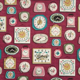 Clocks Cotton Duck - Red - Gold, green, aqua, white and pink clocks of different styles printed on a cotton fabric background in plum