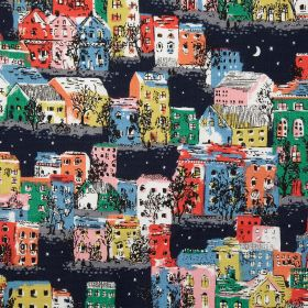 Townhouses Cotton Duck - Blue - Cotton fabric in dark blue with a starry sky design, set behind roughly drawn multicoloured houses and black