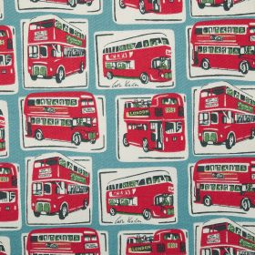 London Buses Cotton Duck - Blue - Red London buses printed in regular white squares and rectangles on duck egg blue coloured fabric made fro