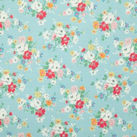 Clifton Rose Cotton Duck - Blue - Light blue 100% cotton fabric printed with clusters of flowers in shades of pink, white, orange, green and