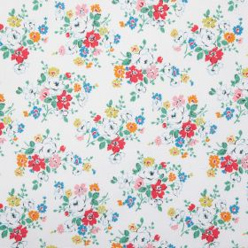 Clifton Rose Cotton Duck - White - White, pink, green, orange and blue flowers printed in groups on plain white fabric made from 100% cotton
