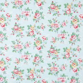 Kingswood Rose Cotton Duck - Pale Blue - Flowers in shades of pink and pale yellow with mint green leaves on a background of pale blue colou
