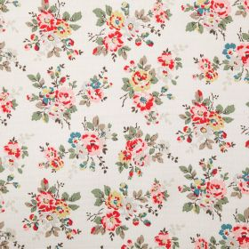 Kingswood Rose Cotton Duck - Ivory - Off-white coloured cotton fabric with a floral pattern in shades of grey, red, green and pale yellow