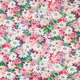 Painted Daisy Cotton Duck - Pink - Daisies in shades of white and pink scattered with variegated bright green leaves on fabric made entirely