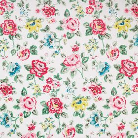 Rainbow Rose Cotton Duck - Grey - Rose printed 100% cotton fabric with a red, pink, yellow, blue and green design scattered over a white bac