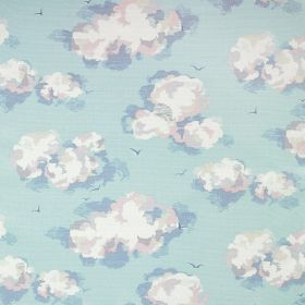 Clouds Cotton Duck - Pale Blue - Cloud like designs shaded in light grey and blue colours against fabric made entirely from sky blue coloure