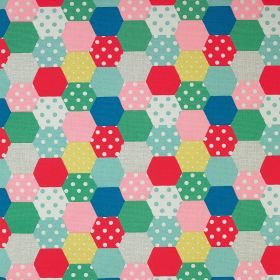 Patchwork Spot Cotton Duck - Multi - Bright multicoloured 100% cotton fabric covered with a patchwork style design of polka dot and plain co