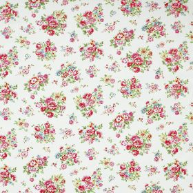 Granham Cotton Duck - White - Clusters of tiny red, pink, blue and yellow flowers with green leaves on a background of white 100% cotton fab
