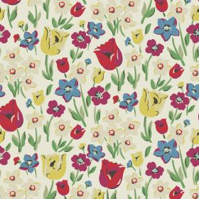 Paradise Fields Cotton Duck - White - Fuchsia, beige and dusky blue flowers printed with red and yellow tulips and green leaves on white 100