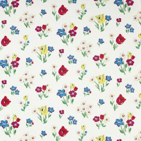 Paradise Bunch Cotton Duck - White - White 100% cotton fabric, printed with small flowers, tulips and leaves in scarlet, blue, fuchsia, yell