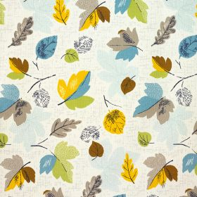 Woodland Rose Cotton Duck - Blue - Different sized and shaped leaves printed in yellow, sky blue, green, brown, icy blue and grey on white 100