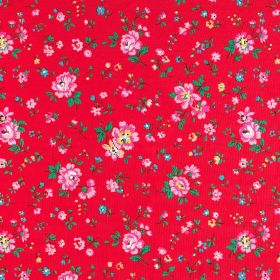 Bramley Sprig Cotton Duck - Red - Bold pink flowers and dark emerald green leaves creating a small pattern scattered over bright red 100% co