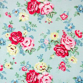 Park Rose Cotton Duck - Pale Blue - Light blue fabric made from 100% cotton, with pretty florals in bright shades of pink, raspberry, blue,