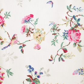 Birds & Roses Cotton Duck - Cream - 100% cotton fabric in white with a pink, light teal, pale grey, cream and blue pattern of flowers, butte