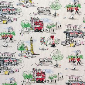 Billie Goes To Town Cotton Duck - Cream - London themed 100% cotton fabric, printed with trees, palaces, shops, soldiers, buses, taxis, Big