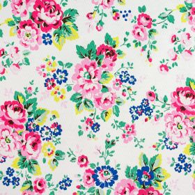 Large Spray Flowers Cotton Duck - White - Bright shades of pink, blue, green and yellow making up bold, pretty floral patterns on white 100%