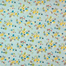 Woodland Rose Cotton Duck - Pale Blue - Bright yellow, marine blue, apple green, grey & white florals scattered over fabric made from 100% c