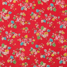 Woodland Rose Cotton Duck - Russet - Fabric made from bright pink-red coloured 100% cotton, scattered with small blue, pink, green, cream an