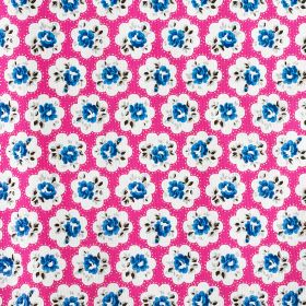 Provence Rose Cotton Duck - Pink - Individual royal blue coloured flowers placed within simple white cloud shapes on bright pink 100% cotton