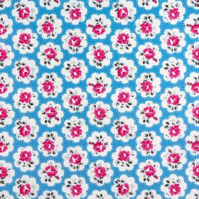 Provence Rose Cotton Duck - Cornflower - 100% cotton fabric made in bright sky blue, printed with rows of simple white cloud shapes holding
